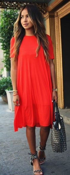 #business #casualoutfits #spring | Red Midi Dress | Sincerely Jules