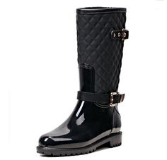 Ladies Fashion Quilted Wellington Wellies Rubber Low Heel Rain Boots Water Shoes