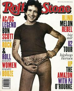 Rolling Stone cover with BON SCOTT