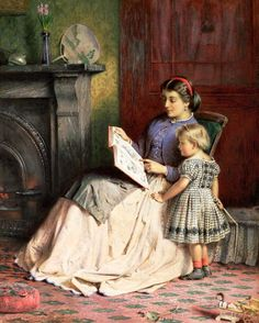 pintura de George Goodwin Kilburne Reading Art, Woman Reading, Reading People, Classic Paintings, Beautiful Paintings, How To Read People, Illustration, Mother And Child, Anime Comics