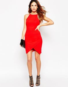 same as other red, less conservative $39 size avail Image 4 ofASOS PETITE 90's Asymmetric Bodycon Dress With High Neck