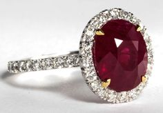 GIA Certified Five Carat Vivid Red Pigeon's Blood Burma Ruby and Diamond Ring…