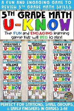 If you teach 5th grade math and your students LOVE games then this U-Know bundle is for you! Kids loving practicing their math skills when they get to play U-Know! This bundle reviews all of the common core standards for 5th grade. Great for test prep!  Perfect for small groups, centers/stations, or early finishers to review and practice all year long. Teach this game once and then use it to spiral the math content and standards for your students all year long.