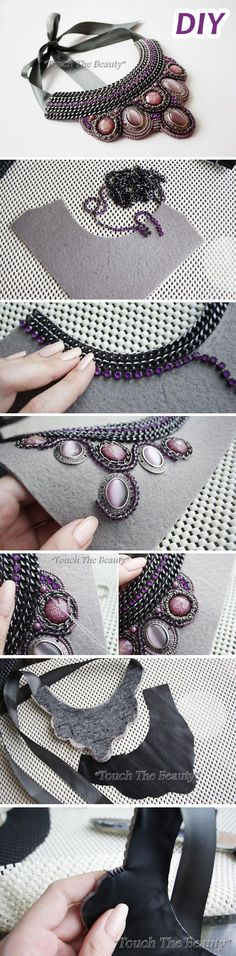 "DIY: Beaded necklace with chains Мастер-класс: авторское к. - - DIY: Beaded necklace with chains Мастер-класс: авторское к… dream work DIY: Perlenkette mit Ketten Werkstatt: Designer-Halskette ""Violette Träume"". Wire Jewelry, Jewelry Crafts, Beaded Jewelry, Handmade Jewelry, Jewellery, Crystal Jewelry, Jewelry Art, Silver Jewelry, Diy Collier"