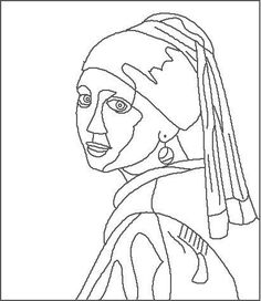 Incredible Coloring Pages World :: Pages of free artwork and tradition coloring pages to obtain and . Johannes Vermeer, Desenhos Van Gogh, Art Sketches, Art Drawings, Art Du Croquis, Culture Art, American Gothic, Colouring Pages, Free Coloring