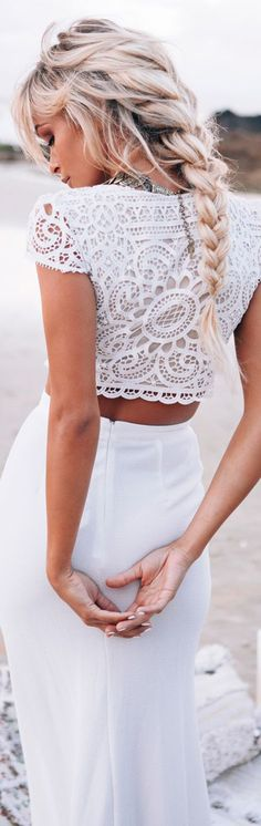 White Plain Hollow-out Crop Lace 2-in-1 Round Neck Short Sleeve Sexy Bodycon Maxi Dress