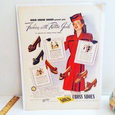 Authentic 1943 Gold Cross Shoes Advertisement Illustration Women's Shoe Ephemera