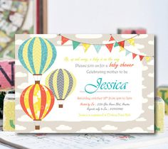Air Balloon Baby Shower Invitation Hot Air by ZPartyDesigns
