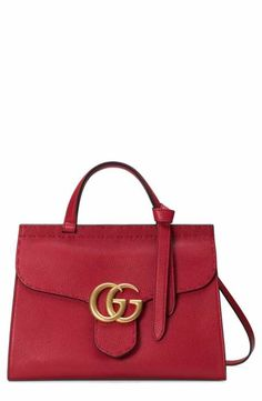 ff2316b06d9b Gucci GG Marmont Top Handle Leather Satchel Gg Marmont, Givenchy Handbags,  Leather Handbags,