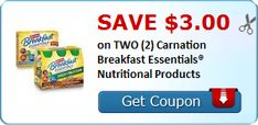 $3.00 off TWO Carnation Breakfast Essentials Nutritional Products