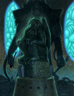 Cthulhu statue - revisited by nightserpent Paul Carrick, Call Of Cthulhu Rpg, Lovecraftian Horror, Eldritch Horror, Best Horrors, Fantasy Artwork, Illustration Art, Illustrations, Lion Sculpture