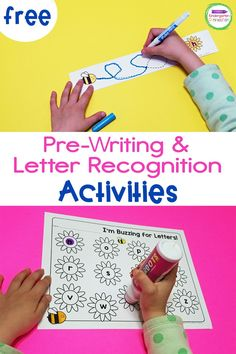 This free May Flowers Pre-Writing and Letter Recognition Activity will get your little learners buzzing with excitement this spring and summer! Your kids will practice fine motor skills and letter recognition at the same time with these two fun activities! This activity is perfect for Pre-K students, but can be used in Kindergarten too!