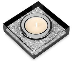 Deluxe tea light candle-holder Lotus 1 with swarovski elements crystals - a shimmering table decoration (black - 8 x 8 x centimeter) Candle Holder Set, Tealight Candle Holders, Tea Light Holder, Support Bougie, Vegan Candles, Lotus, Concrete Crafts, Natural Essential Oils, Lavender Oil