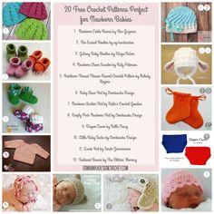 Newborn Crochet Patterns - Round Up of 20 - as seen on oombawkadesigncrochet.com