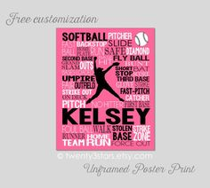 This art print would look great in any softball players room. Makes a great gift to commemorate a good season, a senior year or as a graduation