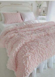 Shabby Chic Bed with Fluffy Pink Spread and Pillow