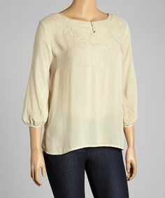 Love this Taupe Embroidered Peasant Top - Plus by Simply Irresistible on #zulily! #zulilyfinds