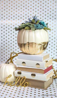 Felt Succulent Pumpkin Centerpiece
