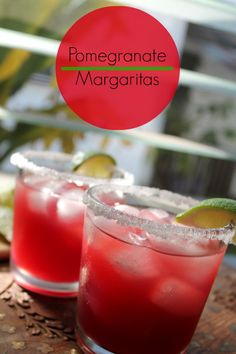 Tangy, sweet, pomegranate margarita perfect for a celebration Party Drinks, Wine Drinks, Cocktail Drinks, Cocktail Recipes, Beverages, Cocktails, Cold Drinks, Drink Recipes, Alcoholic Drinks