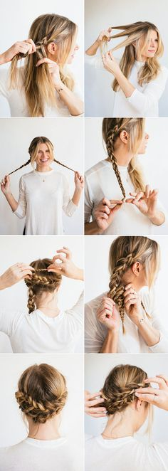 plait braid, wide white blouse, putting hair up, loose braids on head - Haarfrisuren - Cheveux Casual Hair Updos, Casual Hairstyles, Summer Hairstyles, Easy Hairstyles, 1930s Hairstyles, Wedding Hairstyles, 5 Minute Hairstyles, Pulled Back Hairstyles, Hipster Hairstyles