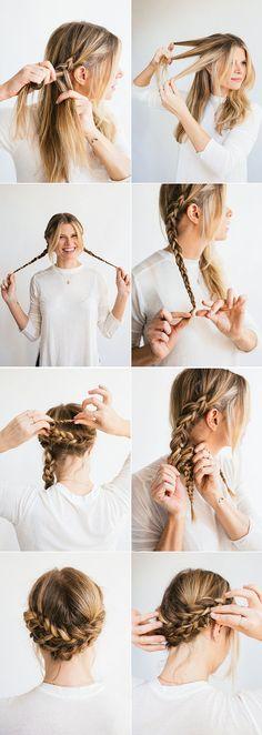 couronne de tresse effet bohème réalisée avec deux mini tresses cheveux longs blonds coiffure facile a réaliser