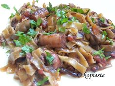 Htapodi (octopus) with Mushrooms and Homemade Pasta http://kopiaste.org/2013/05/htapodi-octopus-with-mushrooms-and-homemade-hilopites/ Χταπόδι με Μανιτάρια και Χυλοπίτες ή Σπαγγέτι http://www.kopiaste.info/?p=11058