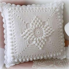 Handmade Crochet Pillow Cover /ecru cotton yarn with natural wood buttons,Christmas giftSee Free Footsteps, Charts, and Instructions. Crochet Pillow Cases, Crochet Pillow Pattern, Crochet Headband Pattern, Crochet Cushions, Crochet Motif, Crochet Home, Love Crochet, Irish Crochet, Crochet Flowers