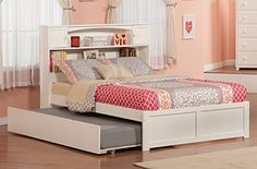 Atlantic Furniture Newport Flat Panel Foot Board with Urban Trundle Bed, Full, White