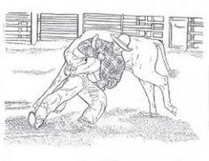 steer wrestling coloring page
