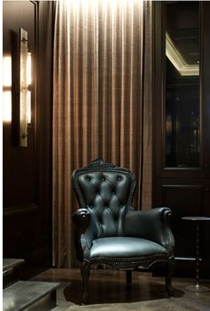 dSPACE- Astor Street Reconstruction- Custom antique strip light by Commute Home & Mooi smoke lounge chair in the Gameroom Whiskey Room, Cigar Room, Transitional House, Man Room, Furniture Layout, Cool Chairs, My Dream Home, Decoration, Beautiful Homes