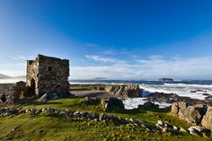 The ruins of Carrickabraghy Castle on the Isle of Doagh, Inishowen, Co. Donegal, Ireland. Photo by Adam Rory Porter