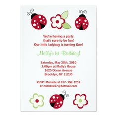 Shop Red Ladybug Flower Custom Birthday Invitations created by little_prints. Ladybug Invitations, 1st Birthday Invitations, Ladybug 1st Birthdays, First Birthdays, Little Girl Birthday, Flower Birthday, Birthday Ideas, Twin Birthday, Birthday Parties