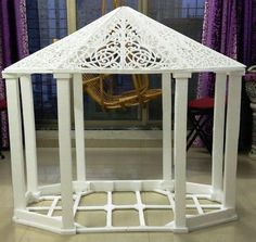 How to make thermocol decorative temple - Simple Craft Ideas Paper Rosettes, Paper Flowers, Stationary Store, Decoration For Ganpati, Art Articles, Paper Design, Garden Furniture, Easy Crafts, Gazebo