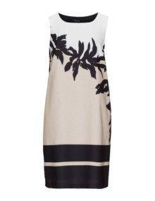Elena Miro Printed shift dress in Beige / Sand
