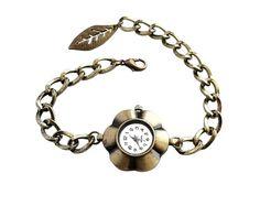 Handmade Women Fashion Vintage-style Antique Bronze Flower Shape Quartz Watch Bracelet