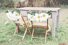 magnolia wedding chair flowers