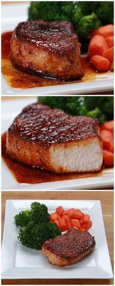 Easy Glazed Pork Chops Recipe by Tasty Easy Pork Chops With Veggies Pork Chop Recipes, Meat Recipes, Cooking Recipes, Cooking Time, Thick Pork Chop Recipe, Thick Cut Pork Chops, Syrian Recipes, Endive Recipes, Gourmet