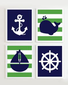 Nautical Nursery Navy and Green set of 4 - Beach Ocean Sea - more colors available