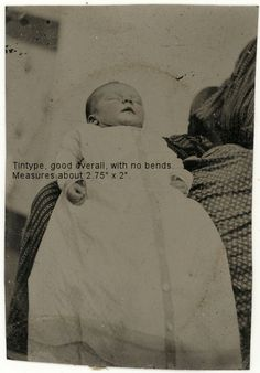 Sad 1860s Post Mortem Tintype Photo of Baby