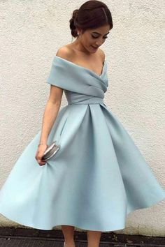 A-Line Off-the-Shoulder Tea-Length Sleeveless Homecoming Dress,Light Blue Satin Prom Dress,N184