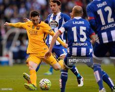 Barcelona's Argentinian forward Lionel Messi kicks the ball next to Deportivo La Coruna's midfielder Pedro Mosquera during the Spanish league...