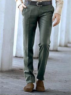 Dusty Green Pant colored formal #Trousers featuring two side pockets, welt pockets on the back with elegant loops. Item Code : TKT4560B http://www.lalitkhatri.com/label/men/trousers.html