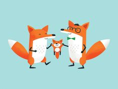 Foxes Birth Card designed by Nicholas Hendrickx. Connect with them on Dribbble; the global community for designers and creative professionals. Fuchs Illustration, Family Illustration, Tree Illustration, Fuchs Baby, Baby Wolves, Red Wolves, Baby Artwork, Fox Drawing, Fox Pictures