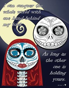 Jack Skellington and Sally Sugar Skulls Print 11x14 print by MYantz on Etsy https://www.etsy.com/listing/186868146/jack-skellington-and-sally-sugar-skulls
