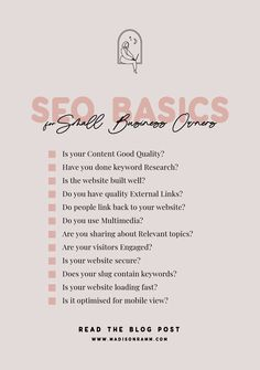 What is SEO? - SEO Basics for small business owners - Madison Ramm Design Inbound Marketing, Marketing Digital, Social Media Marketing Business, Social Media Tips, Content Marketing, Online Marketing, Marketing Communications, Small Business Plan, Business Tips