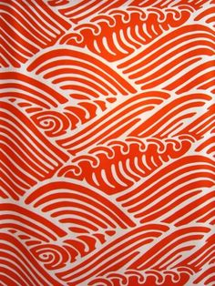 Japanese Red Wave Fabric