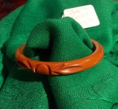 Vintage Carved Bakelite Bangle-Caramel Colored by CindysCection