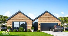 Get started with our architectural and modern house plans - Horrell Construction Small Contemporary House Plans, Modern Barn House, Barn House Plans, Dream House Plans, Gable House, House Roof, Facade House, Gable Roof, Cabin Style Homes