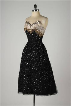 Vintage 1950's Rudolf Stars Rhinestones Cocktail Dress | From a collection of rare vintage evening dresses at https://www.1stdibs.com/fashion/clothing/evening-dresses/