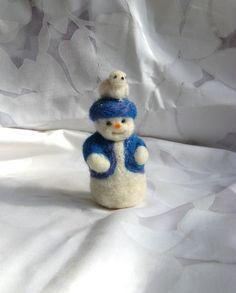 Needle Felted Snowman and Little Winter Bird. $17.00, via Etsy.
